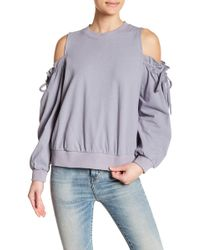 Lush - Ruffle Cold Shoulder Linen Blend Sweatshirt - Lyst