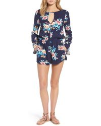 Mimi Chica - Floral Bell Sleeve Romper - Lyst