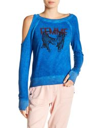 Pam & Gela - Graphic One Cold Shoulder Sweater - Lyst