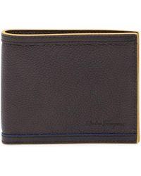 Ferragamo - Pebbled Trimmed Bifold Leather Wallet - Lyst
