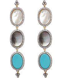 Freida Rothman - Triple Oval Mixed Stone Drop Earrings - Lyst