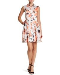 Betsey Johnson - Printed Chiffon Shirt Dress - Lyst