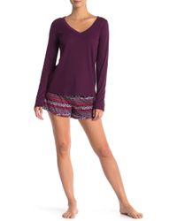 Maidenform - Ribbed Knit Tee & Fleece Shorts Pajama Set - Lyst