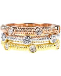 CZ by Kenneth Jay Lane - Tricolor Bezel Set Cz Stacking Rings - Lyst