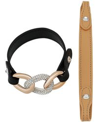 Swarovski - Bound Calfskin Leather Strap Chain Crystal Accented Bracelet - Lyst