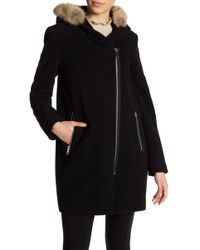 Andrew Marc - Robbie Front Zip Genuine Fur Trim Hooded Coat - Lyst