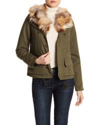 Love Token - Genuine Rabbit Fur Lining & Genuine Fox Fur Trim Army Jacket - Lyst