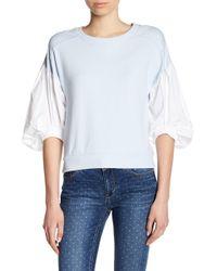 Kensie - Poplin Sleeve Sweatshirt - Lyst