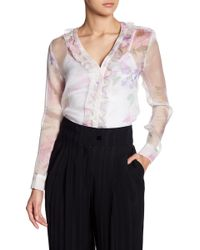 Cacharel | Ruffle Trim Floral Blouse | Lyst