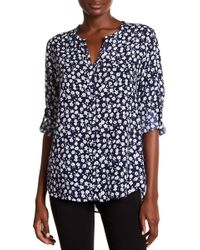 Casual Studio - Roll-tab Sleeve Floral Blouse - Lyst