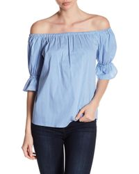 1.STATE - Off-the-shoulder Smocked Striped Print Top - Lyst