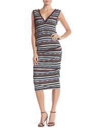 Nicole Miller - Smocked Bodice Stripe Midi Dress - Lyst