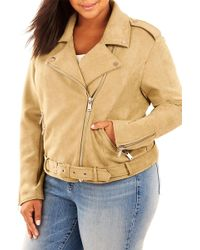 REBEL WILSON X ANGELS - Bonded Faux Suede Moto Jacket (plus Size) - Lyst