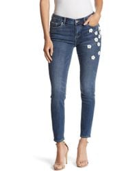 Cece by Cynthia Steffe - Floral Embellished Classic Skinny Jeans - Lyst