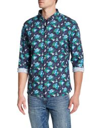 Knowledge Cotton Apparel - Front Button Floral Print Regular Fit Woven Shirt - Lyst