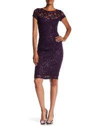 Marina - Sequined Lace Midi Dress - Lyst