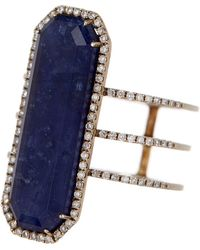 Meira T - 14k Gold Sodalite Stone & Diamond Ring - 0.28 Ctw - Size 6.5 - Lyst