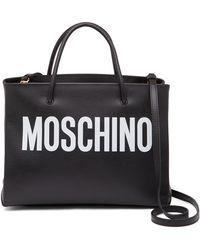 Moschino   Logo Printed Leather Mini Tote   Lyst