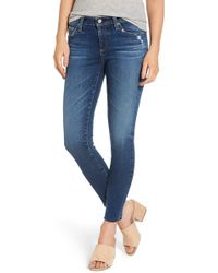AG Jeans - The Legging Raw Hem Ankle Skinny Jeans (12 Years Blue Dusk) - Lyst