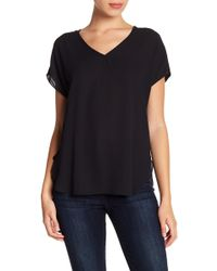 Catherine Malandrino - Mixed Media V-neck Blouse (petite) - Lyst