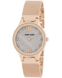 Anne Klein - Women's Swarovski Crystal Accented Mother Of Pearl Mesh Bracelet Watch, 30mm - Lyst