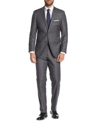 English Laundry - Charcoal Navy Windowpane Two Button Notch Lapel Suit - Lyst