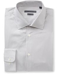 John Varvatos | White & Grey Striped Classic Fit Dress Shirt | Lyst