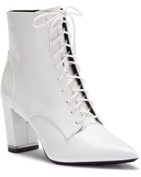 Calvin Klein - Esma Patent Leather Lace Up Bootie - Lyst
