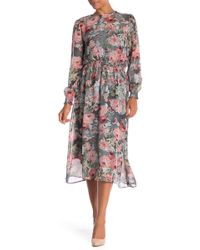 ABS Collection - Floral Print Smocked Maxi Dress - Lyst