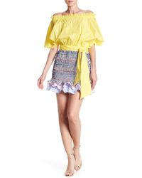 Do+Be Collection - Shirred Stripe Ruffle Mini Skirt - Lyst