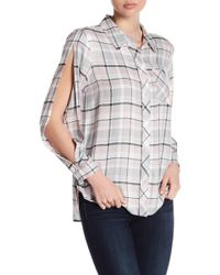 Two By Vince Camuto - Split Long Sleeve Plaid Blouse - Lyst