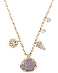 Meira T - 14k Rose Gold White Topaz Charm Necklace - Lyst