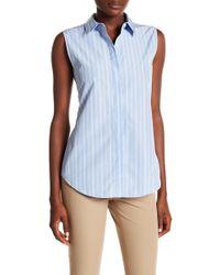 Theory - Tanelis Stripe Sleeveless Shirt - Lyst