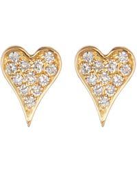 Ron Hami - 14k Yellow Gold Pave Diamond Mini Heart Stud Earrings - 0.05 Ctw - Lyst