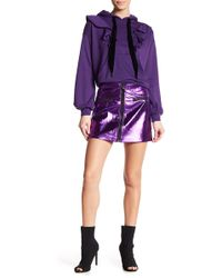 Oober Swank - Front Zip Metallic Mini Skirt - Lyst