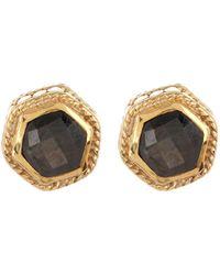 Anna Beck - 18k Gold Plated Grey Sapphire Hexagon Stud Earrings - Lyst