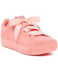10d832bac0f Lyst - PUMA Vikky Ribbon Platform Sneakers in White