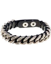 Steve Madden - Chain Detail Leather Bracelet - Lyst