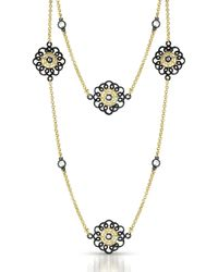 Genevive Jewelry - Gold Plated Sterling Silver Double Layer Lace Cz Flower Necklace - Lyst