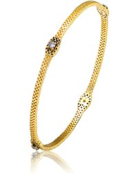 Genevive Jewelry - Gold Plated Sterling Silver Cz Accent Bangle Bracelet - Lyst