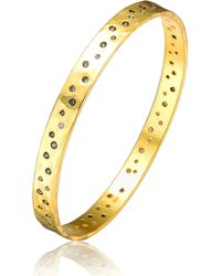 Genevive Jewelry - Gold Plated Sterling Silver Hammered Cz Accented Bangle Bracelet - Lyst