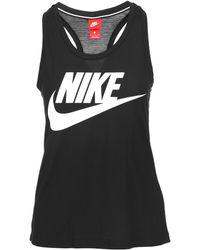 246fc6bf04d05 Lyst - Nike Essential Crop Logo Tank in Black