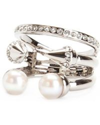 Vita Fede - Ultra Mini Pearl Titan With Crystal Band Ring - Lyst