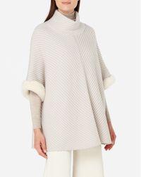 N.Peal Cashmere - Fur Trim Diagonal Rib Poncho - Lyst