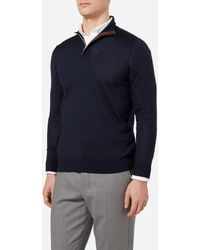 N.Peal Cashmere - The Regent Fine Gauge Half Zip Sweater - Lyst