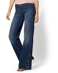 New York & Company - Side-snap Wide Leg Jeans - Indigo - Soho Jeans - Lyst