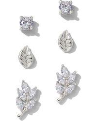 New York & Company - 3-piece Silvertone Cubic Zirconia Leaf Post Earring Set - Lyst
