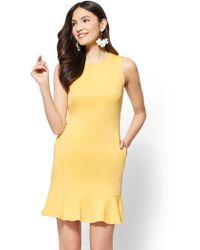 New York & Company - Flounced-hem Cotton Flare Dress - Lyst