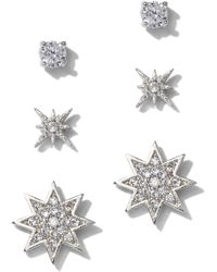 New York & Company - 3-piece Silvertone Cubic Zirconia Star Post Earring Set - Lyst
