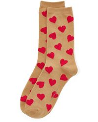 New York & Company Heart-print Crew Sock - Red